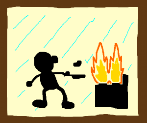 Mr. Game & Watch cooks at the stove