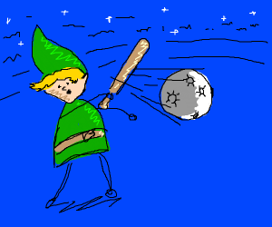 Link hits the moon with a baseball