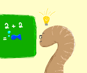 Worm learn math, 2 by 2 is a fish