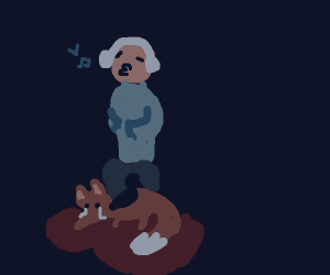 Man steps on the dying fox