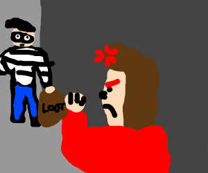 exstreamly aggitated man confronts robber