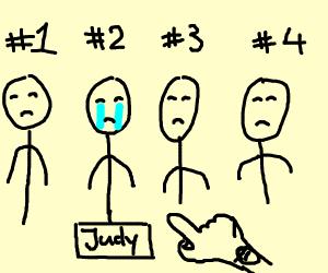 Judy's turn to cry.