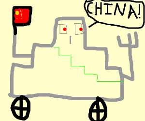 robot holding a flag says china