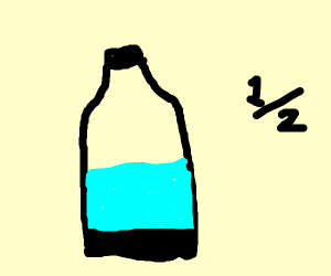 halfway full water bottle