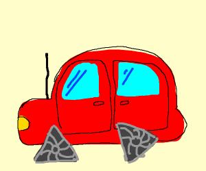 A car with triangular wheels