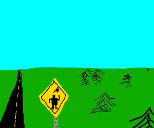 Slow for Oiled Robots Highway Sign