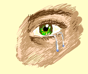 something with a green crying eye.