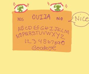 An anime ouiji board saying nice