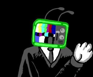Static T.V Head man wearing suit
