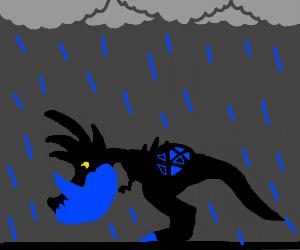 Dragon got under the rain
