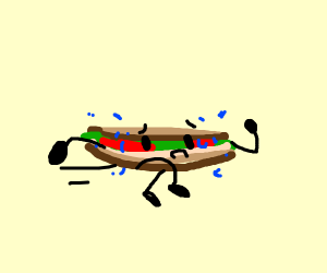 A running sandwich in the bfb art style