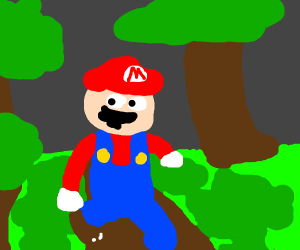 running mario in the forest