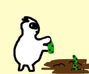 yeti planting a pickle
