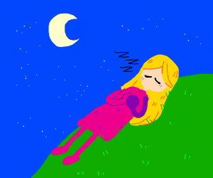 woman is sleeping on a hill under the stars