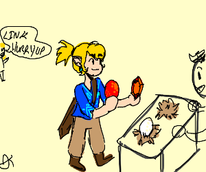 Link buys a red egg