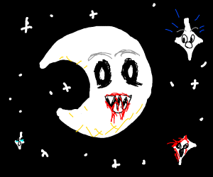 creepy crescent moon has blood on its mouth