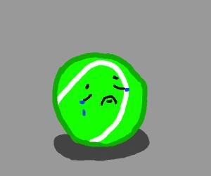 a sad tennis ball