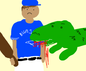 Baseball player getting eaten by a crocodile