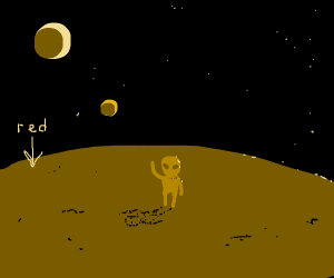 Alien dude on a red planet waving