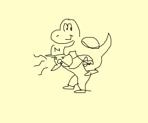 Yoshi riding Mario