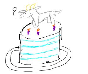 Goat on a birthday cake