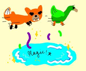 a fox chasing a duck past a magic pool