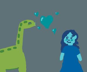 Red dinosaur loves girl