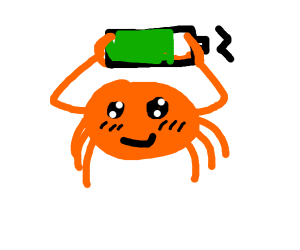 crab holding a battery
