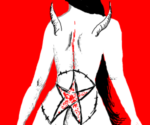A lady with black hair has a satanic bum