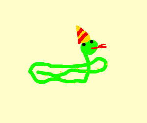 Snake with a party hat