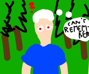 Amnesiac albino lost in woods