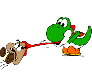 Yoshi eats a Goomba