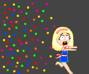 girl is terrified by dots