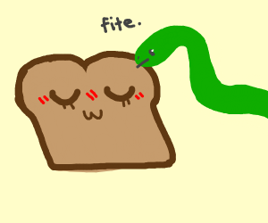 Snake fighting toast with jam on it