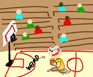 strange guy playing basketball