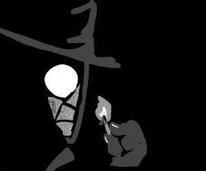 Noir spiderman lights a match