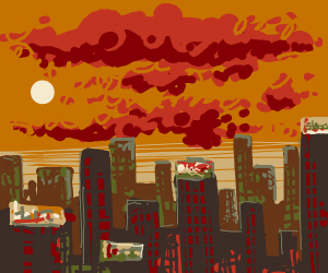 A sunset city scape with billboards
