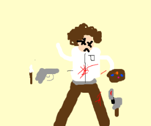 bob ross gets killed by his own art tools