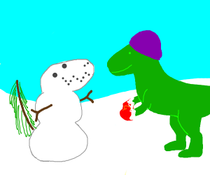 Dinosaur makes Snowdinosaur