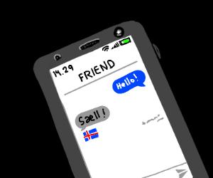 Texting an Icelandic friend