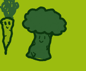 green vegetable with face