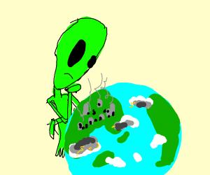 alien inspects the earth