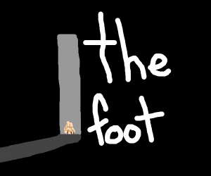 man opens door and sees a giant hairy foot