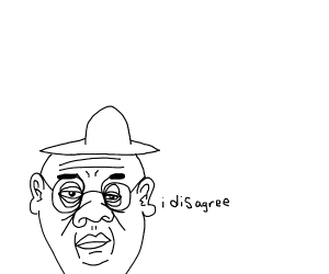 Old man with sunglasses and sun hat disagrees
