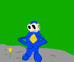Mega Man standing on gray/grey grass
