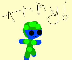 Blue guy is in the us army