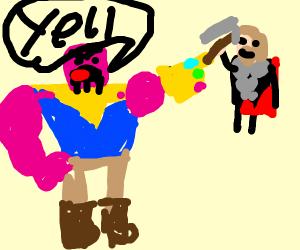 Thanos yelling at Thor