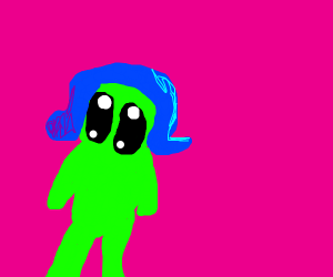 Kawaii alien with blue hair