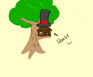 Tree house with a hat