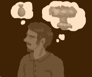 Man thinks of an atomic bomb